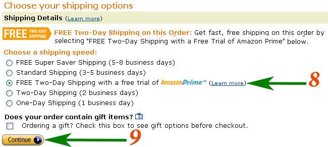 Доставка через Amazon Prime