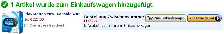 Товар добавлен в корзину Amazon.de