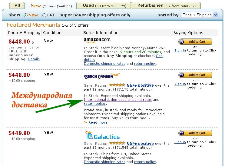 Amazon – Доставка в Россию