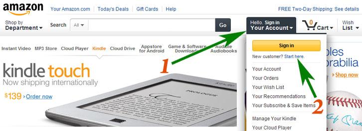 Регистрация на Amazon