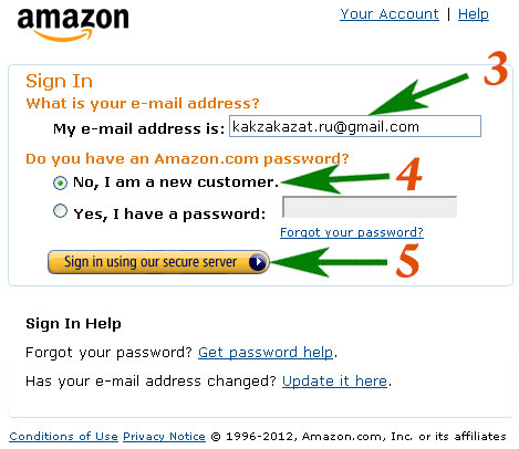 Как зарегистрироваться на Amazon